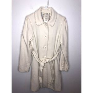 Cream Merona Wool Blend Trench Coat Button Down